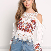 White Cold Shoulder Embroidered Crochet Blouse
