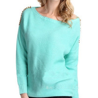 Sky Blue Rivet Knitted Sweater
