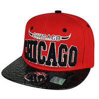 Chi Town City Chicago Faux Snake Skin Red Black Flat Bill Snapback Hat Cap Bull