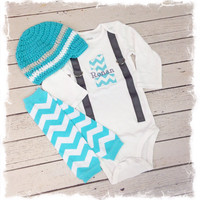 3 Pc Baby Boys First Birthday Outfit with Name and Matching Beanie