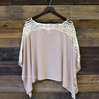 Stanwick Taupe Crochet Knit Poncho Top