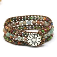 Ethnic Boho Multilayer Bracelet Leather 3 Strands Bead Wrap Bracelet Women Natural Semi Precious Stones Bracelet Drop