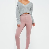Missguided - Pink Vice HIgh Waisted Skinny Jeans