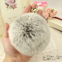 Gold Plated Keychain Charm with Plush Cute Genuine Rabbit Fur Key Chain for Car Key Ring Handbag Accessories Charm Gray = 1931683972