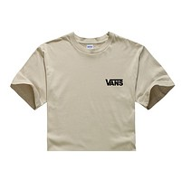 Vans Summer New Fashion Bust Letter Print Leisure Women Men Top T-Shirt Khaki
