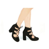 Suede Lace Up Heels (TESS-02 Black)