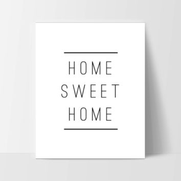 """Motivational Quote Poster """"Home Sweet Home"""" Home Office Dorm Decor White"""