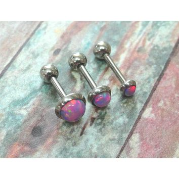 Pink Fire Opal Stud Cartilage Earring Tragus Helix Piercing You Choose Stone Size
