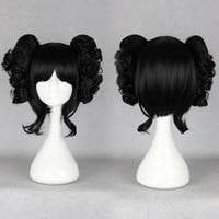 Cartoon FigureTwo Black Pigtails Sexy Women Moore Gala Heat Resistant Synthetic Cosplay Costume Wigs,Colorful Candy Colored synthetic Hair Extension Hair piece 1pcs WIG-301F