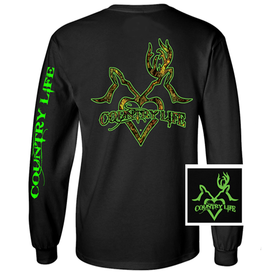 Image of Country Life Outfitters Black & Green Deer Kiss Heart Love Hunt Vintage Long Sleeve Bright T Shirt