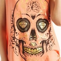 graphic-decorated-skull-tie-tank NEONORANGE NEONYELLOW - GoJane.com