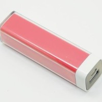 Monlyn Pink Lip Gloss lipstick 2600mAh Universal Mobile USB Portable Power Bank Charger 5V 1A output for Apple iPhone 5 4S 4 3Gs 3G, iPod Touch / Samsung Galaxy S3 S S2 S II, Galaxy Nexus / Blackberry Torch Bold Curve / HTC Sensation 4G, XE, XL, One X, Thu