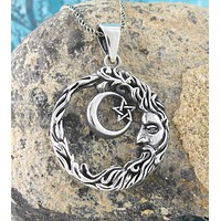 Man In The Moon With Crescent And Pentagram Pendant