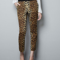 PRINTED CROPPED TROUSERS - Trousers - Woman - ZARA United States