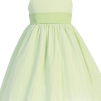 Green Cotton Seersucker Dress w. Polysilk Sash 6m to Girls 12