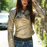 Toast of the Town Faux Leather Jacket - Champagne from Therapy by Lane Crawford at Lucky 21