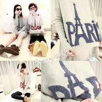 New Fashion Women's PARIS Letter and Eiffel tower Print Sweater T Shirt 2 Colors