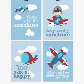 Aviation Travel Nursery Art Set of 4 Prints - You Are My Sunshine