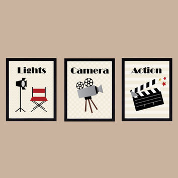 Lights Camera Action Home Theater Art Prints CUSTOMIZE YOUR COLORS Home Theater, 8x10 Prints, set of 3, nursery decor print art baby decor