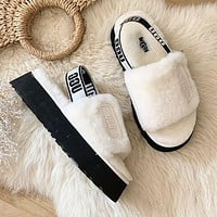 UGG Women Fashion Fluff Yeah Slides Fur Flats Sandals Slipper Shoes