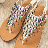Unique Rhinestone Bling Flat Sandals from styleonline