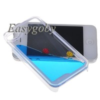 Easygoby Creative Design Free Flowing Liquid Swimming Fish Clear Hard Case For Apple iphone 4 4S