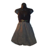 Black Gray Military Inspired Front Bow Dress Womens Clothing XS