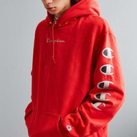 Champion autumn and winter tide brand couple embroidery letters loose hoodie Red