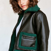 Silence + Noise Opia Vegan Sherpa Leather Jacket - Urban Outfitters