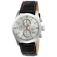 INVICTA Aviator Mens Chronograph - Stainless - Silver Dial - Black Leather Strap