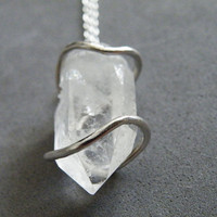 Raw Clear Quartz Pendant Necklace Sterling Silver Gemstone Necklace Boho Jewelry by SteamyLab