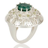 925 Sterling Silver Emerlad Peridot And White Topaz Designer Cocktail Ring