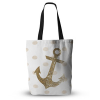 "Nika Martinez ""Glitter Anchor"" Gold Sparkles Everything Tote Bag"