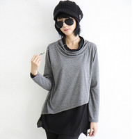2016 New Original Personality Literary Women's Long Sleeve Chiffon Patchwork Spring Women Blouses Casual Loose Plus Size Hipster