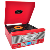 Pyle Retro Turntable with AUX Input/Radio/USB/SD/MP3 and Vinyl-to-MP3 Encoding (Red)