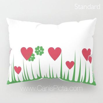 Lucky in Love Pillow Sham Standard King Cushion Decorative Bedroom Bed Decor Holy Grail Pyrex Shamrock Clover Red Hearts Grass Green Vintage