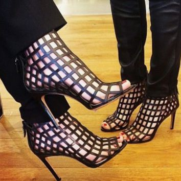 Hot style lattice cut-out simple fish bill bare boots