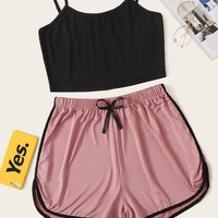 Cami Top With Contrast Binding Shorts PJ Set