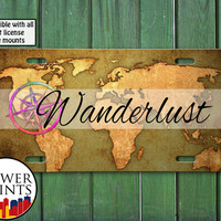 Wanderlust World Map Compass Tumblr Inspired Cute Travel Accessory For Front License Plate Car Tag One Size Fits All Vehicle Custom