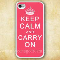 iphone 4 case, iPhone 4s Case, iphone case 4s, Keep Calm and Carry On Painting white hard case for iphone 4, iphone 4S