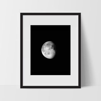 Moon Phase #3 Wall Art, Black and White Modern Art, Prints