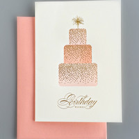 Sparkling Gold & Peach Birthday Card
