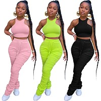 Fitness Stacked Leggings Tracksuit Women Summer Lounge wear Sleeveless Tank Crop Top with Sweatpants Two Piece Set Jogging Femme