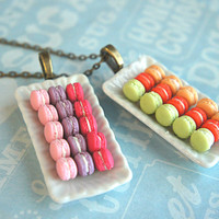 french macaron plate necklace