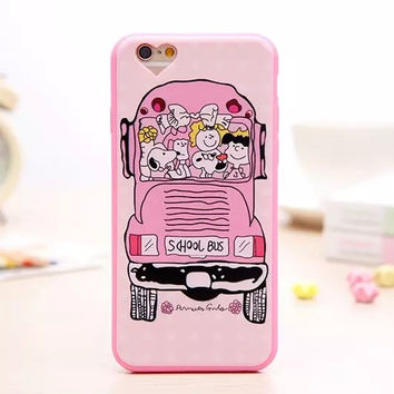 Cute 3D Cartoon Charlie Brown Soft Lovely Pink Phone Back Cover Case For Apple iPhone 6 6s 4.7'