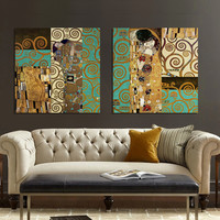 Artists Gustav Klimt  The Kiss and The Tree of Life  The new design masterpieces form Canvas Art Painting home Wall decor