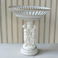 White Porcelain Compote with 3 Female Grecian Statues Reticulated Compote Wedding Centerpiece