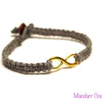Clearance Sale, Gold Tone Infinity Charm Bracelet, Grey Macrame Hemp Jewelry, Gifts for Her, Ready to Ship, Anniversary, Wedding Gift