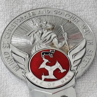 Vintage Religious Isle of Man Automobile Chrome Badge/Vintage Religious St. Christopher's Chrome Car Badge from The Isle Of Man