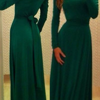 Green Long Sleeve V Shape Back Bodycon Maxi Dres